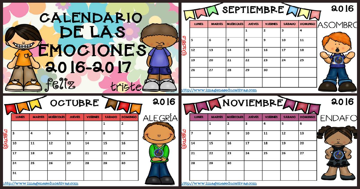 Calendario 2017 para trabajar las emociones por meses for Planning mural 2017