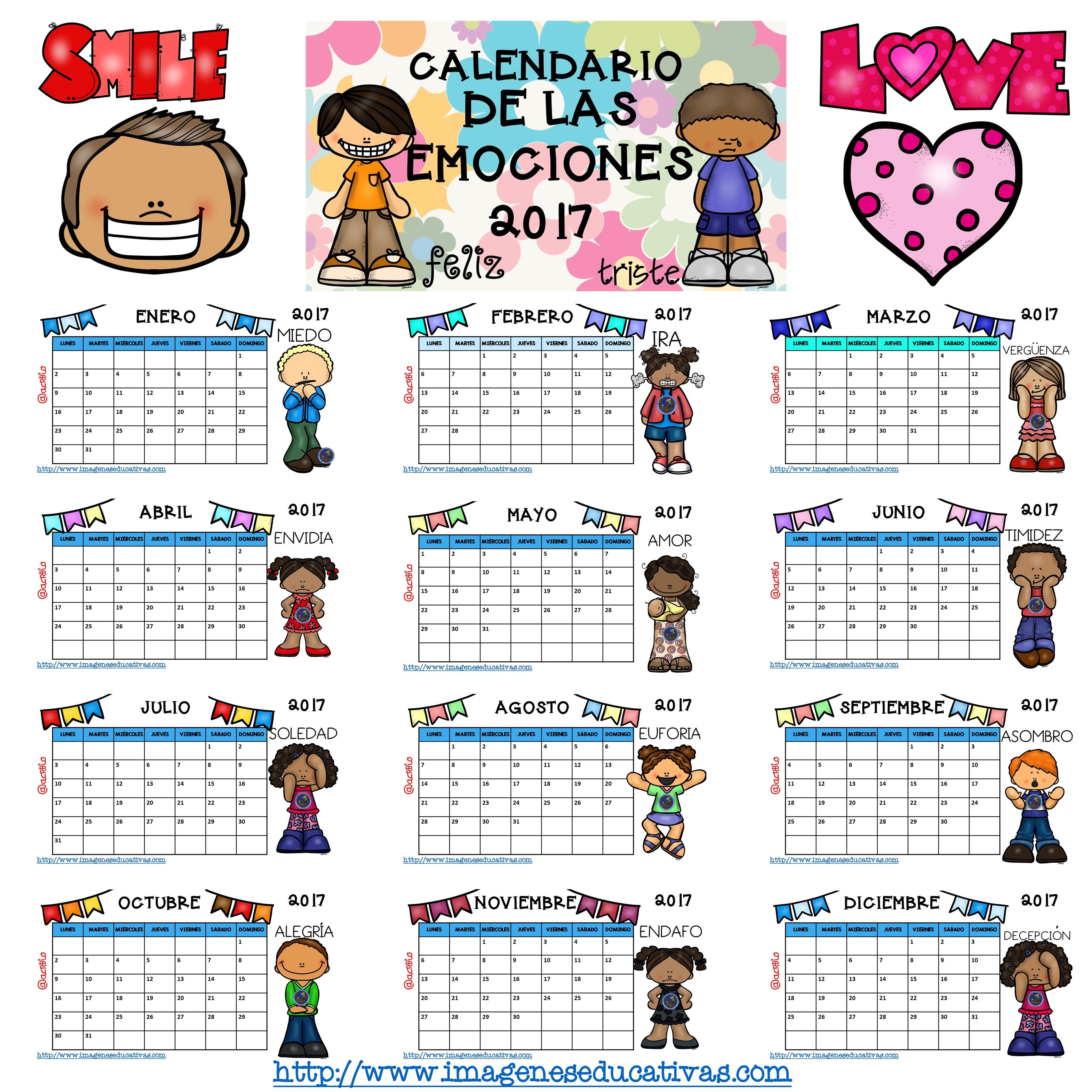 Calendario 2017 trabajamos las emociones gran formato 1 - Calendario 2017 para imprimir por meses ...