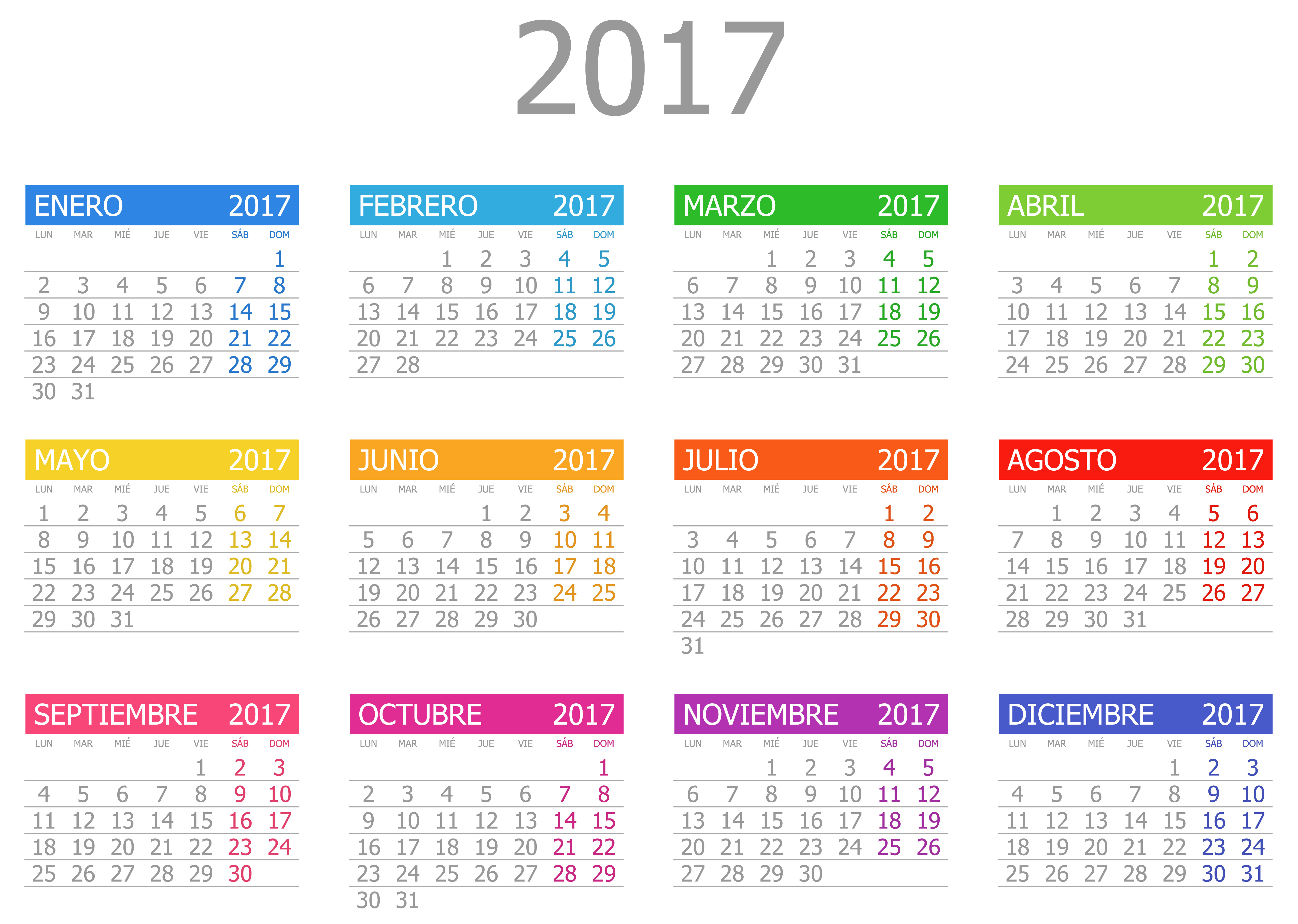 Calendario 2017 Imagenes Educativas