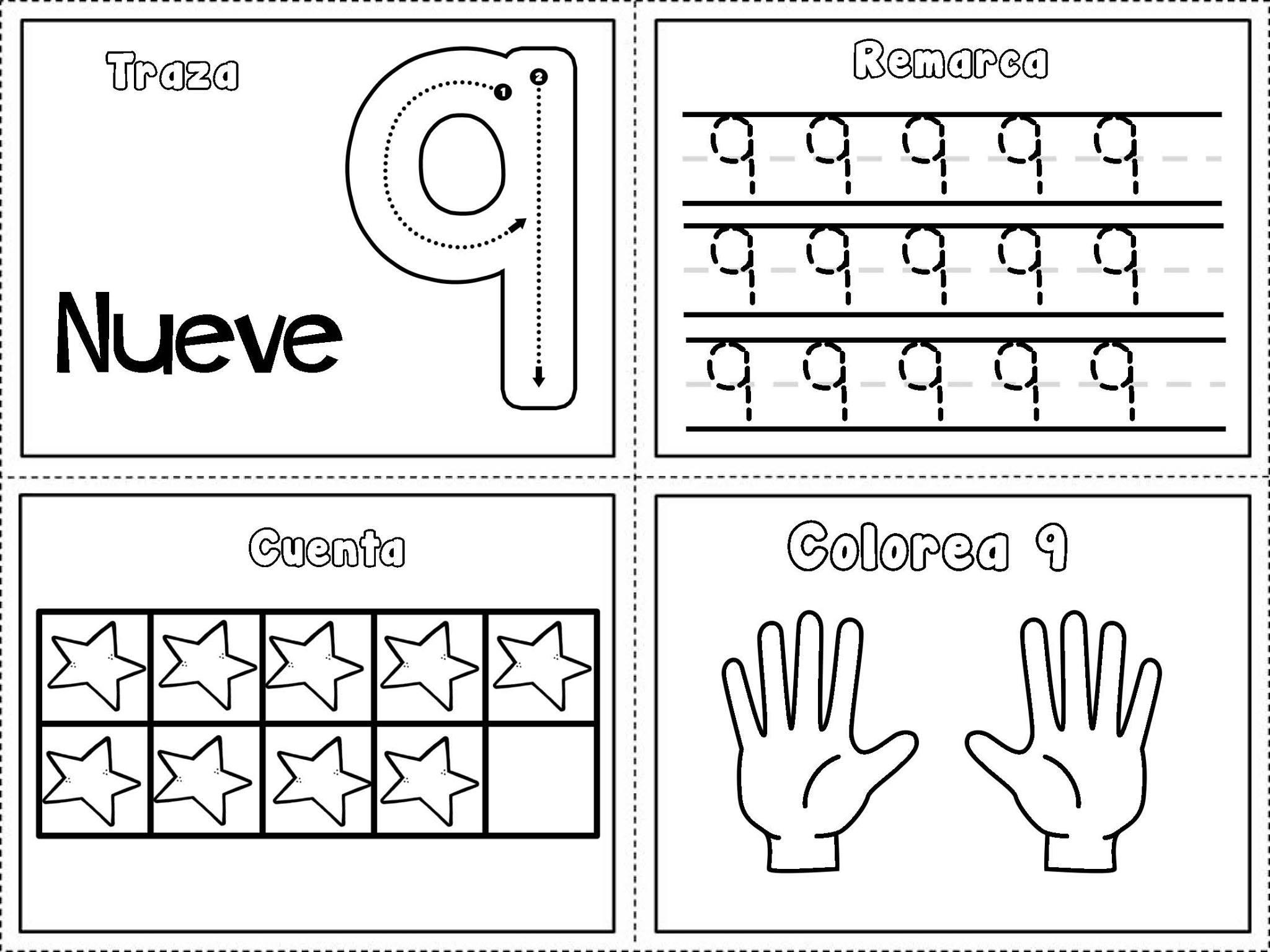 Dibujos Para Colorear Con Numeros Del 1 Al 10: Grafomotricidad Números Del 1 Al 10 (9)