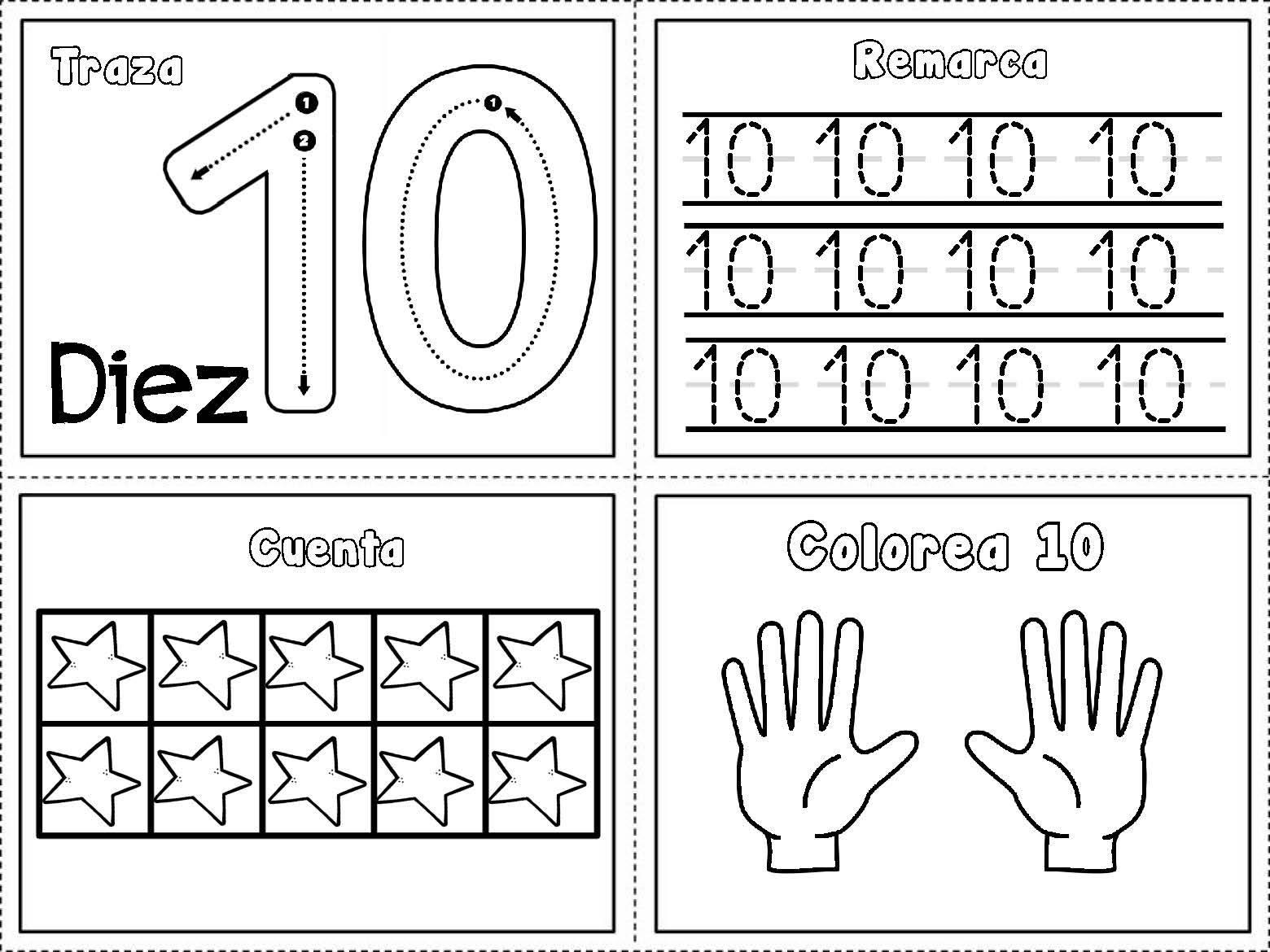 Dibujos De Los Numeros Del 1 Al 10 Para Colorear: Grafomotricidad Números Del 1 Al 10 (10)