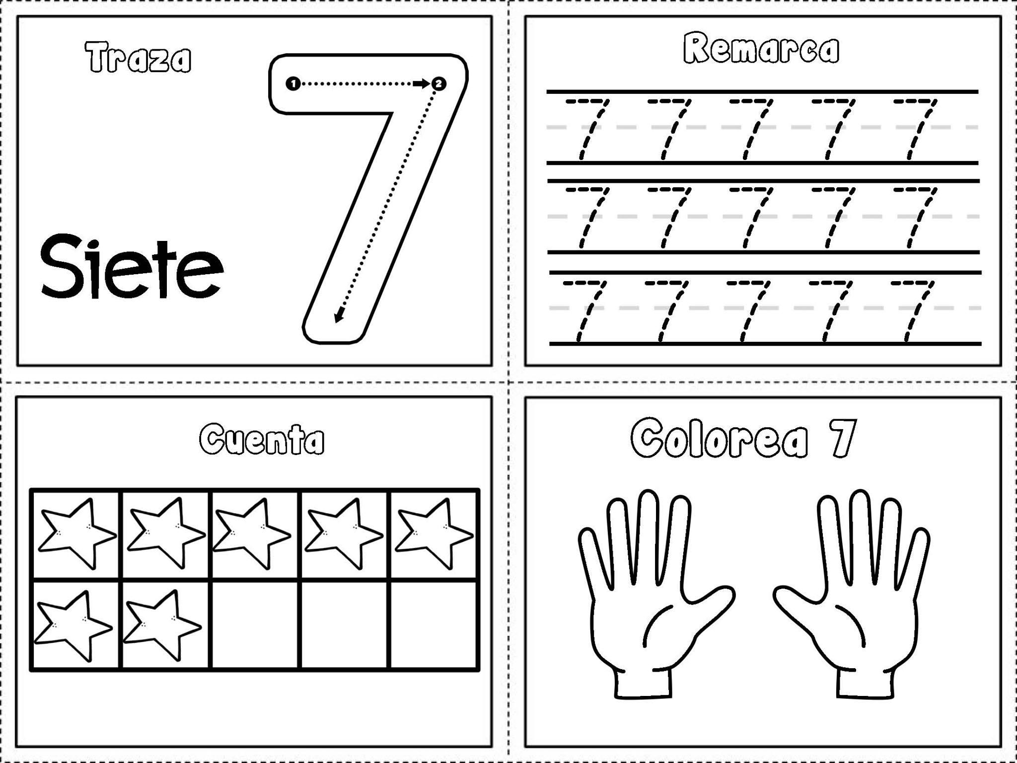 Dibujos Del Numero 7 Para Colorear: Grafomotricidad Números Del 1 Al 10 (7)
