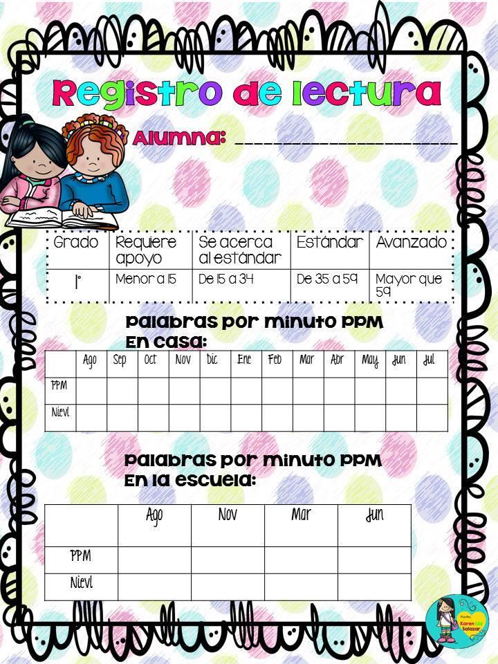 registros de lectura para primaria  2