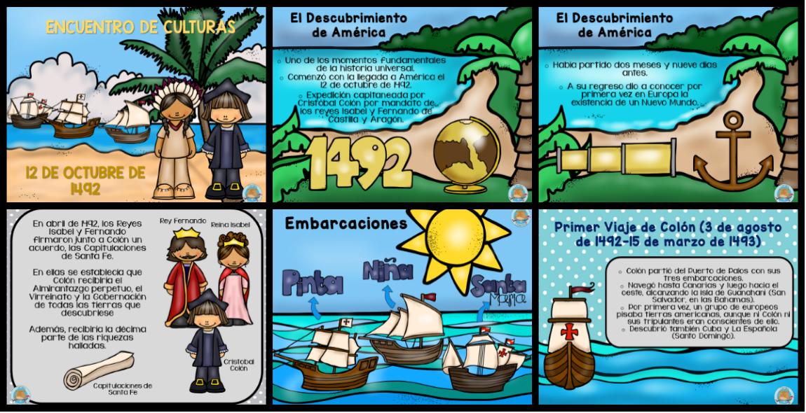 Tarjetas para trabajar y explicar el DESCUBRIMIENTO DE AMÉRICA ...