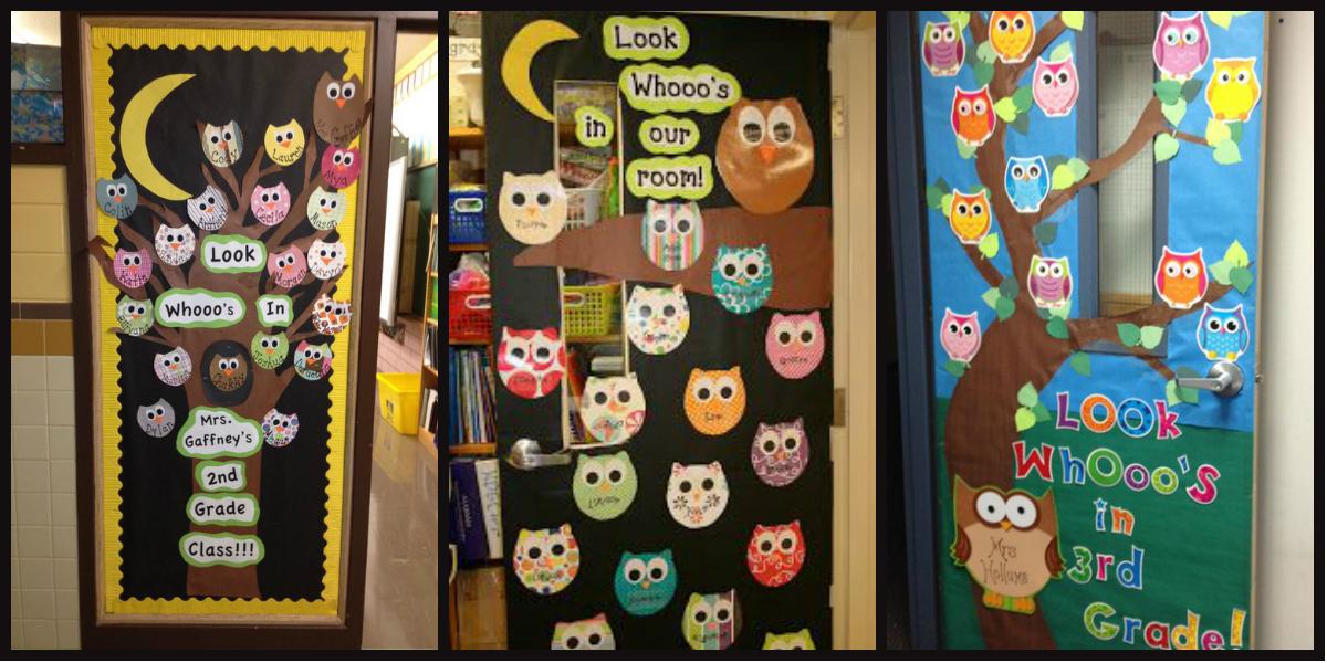 Puertas de clase y decoraciones con b hos imagenes for Decoracion para puertas de preescolar