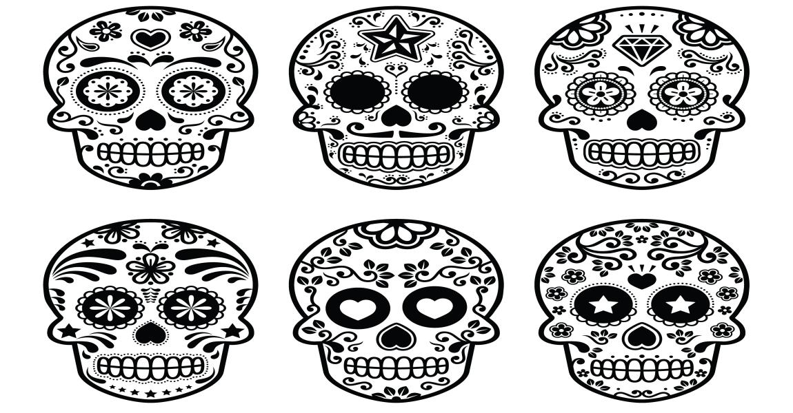 Calaveras y Catrinas para colorear, el DÍA DE LOS MUERTOS