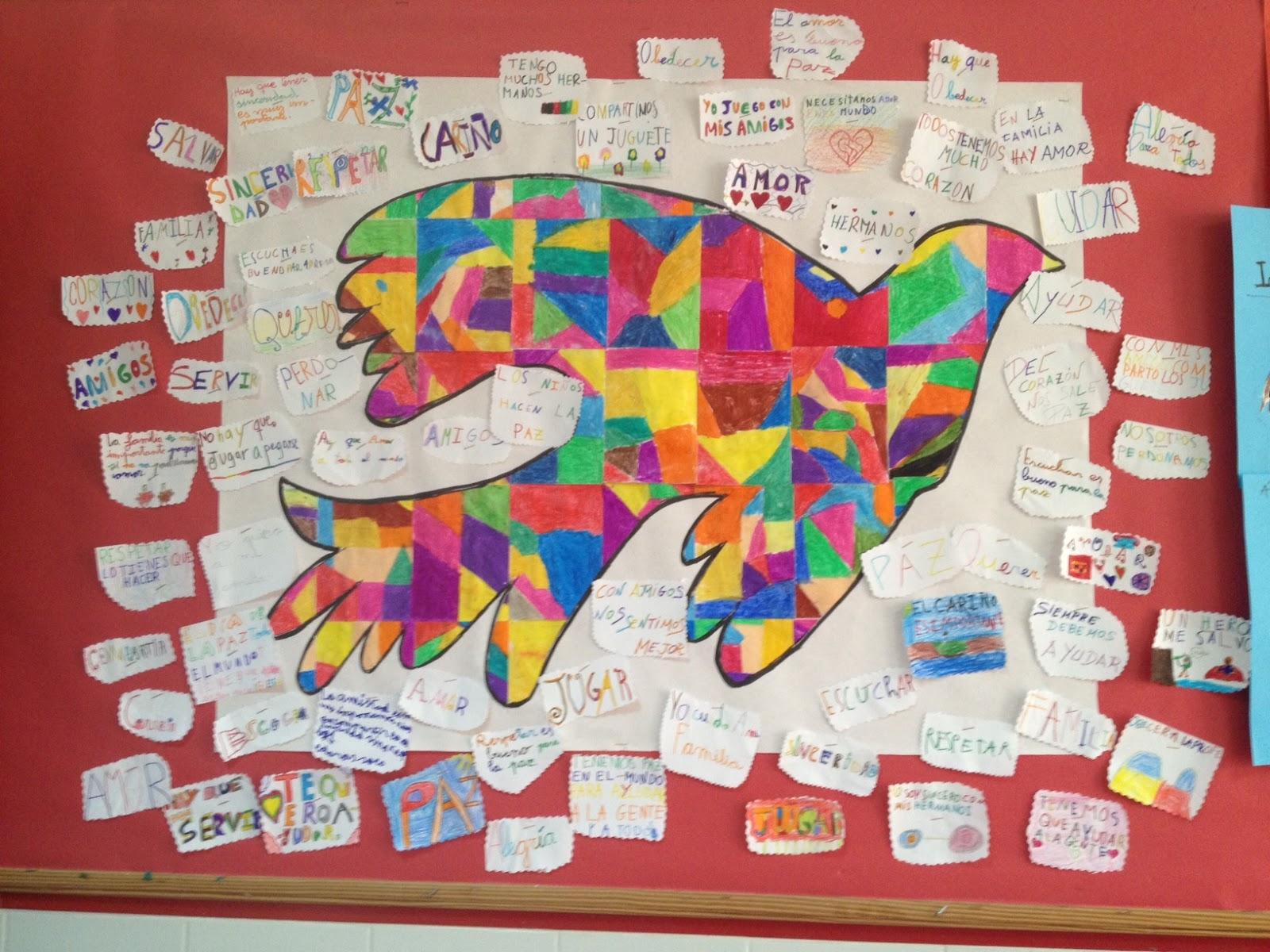 Murales d a de la paz 18 imagenes educativas for Murales infantiles para preescolar