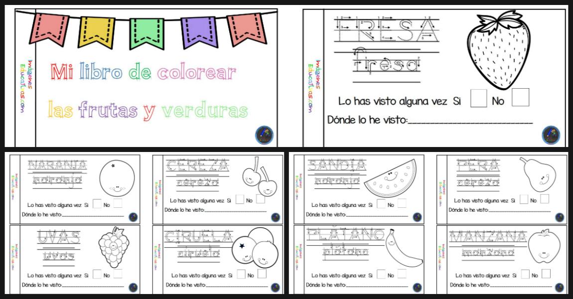 Imagenes Para Portada De Español Para Colorear: Mi Cuaderno Para Colorear Frutas Y Verduras