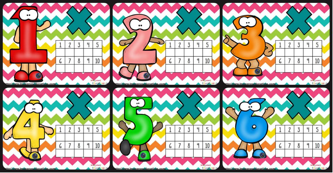 tarjetas para practicar las tablas de multiplicar imagenes educativas