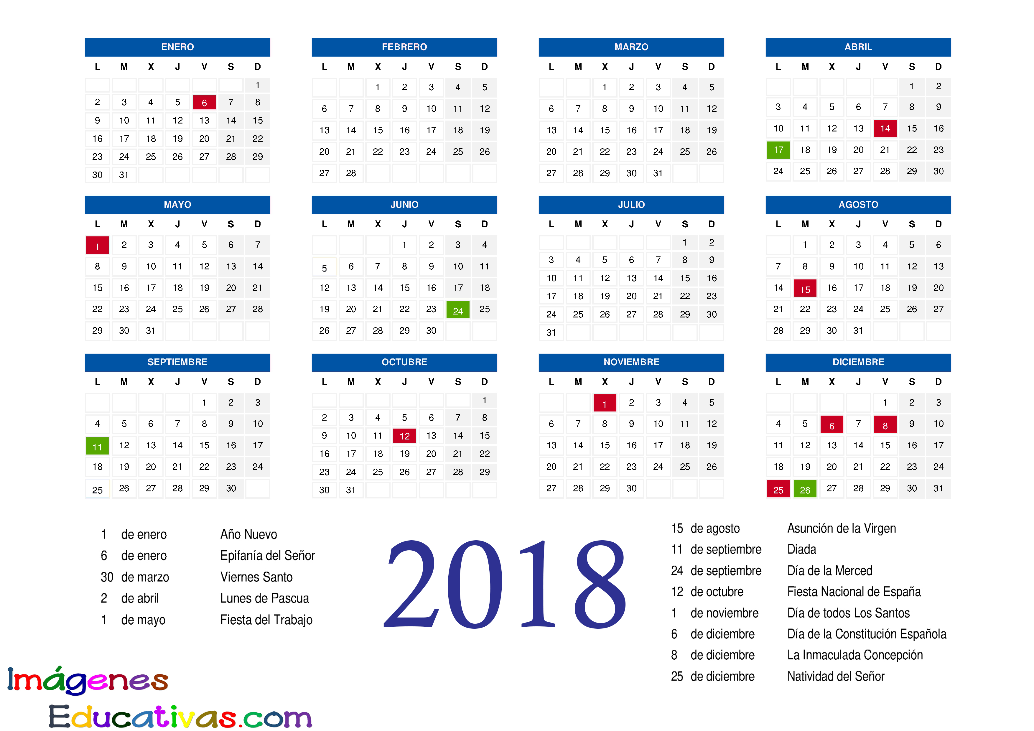 Calendarios 2018 Republica Dominicana