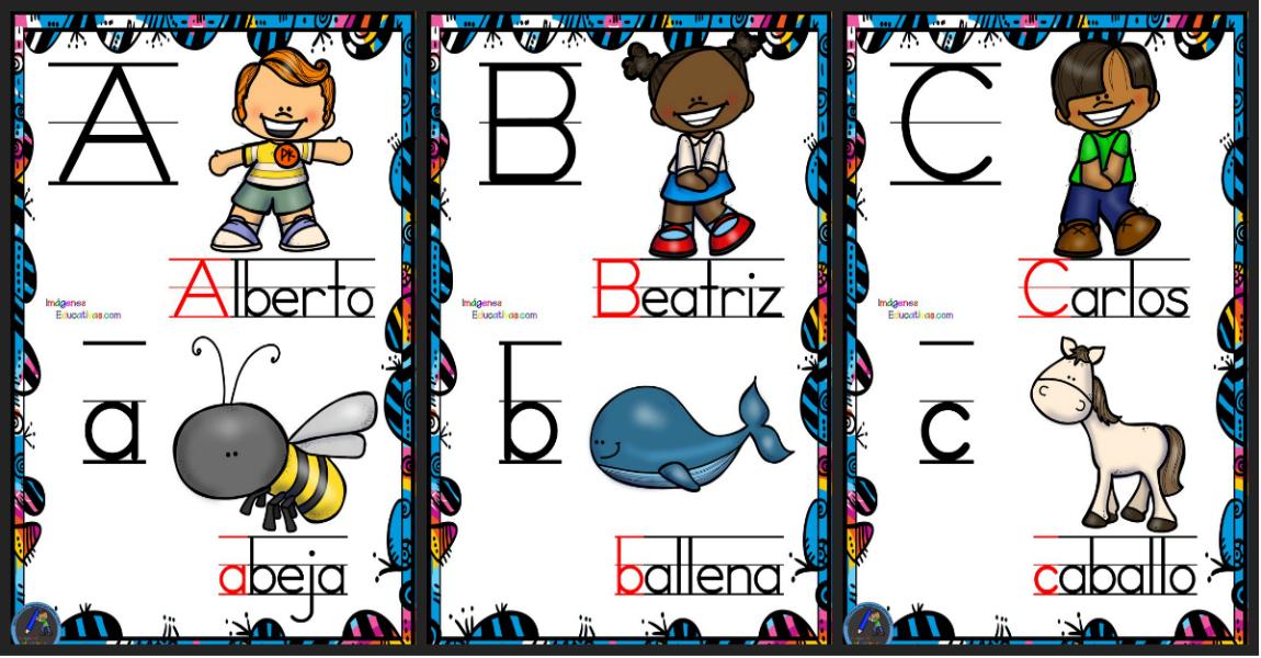 Abecedario nombres propios y animales para decorar la for Actividades para el salon de clases de primaria