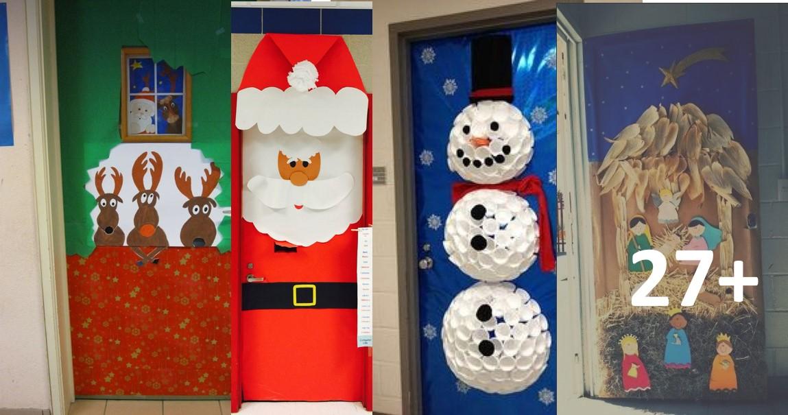 101 ideas para decorar la puerta de tu clase o sal n en for Figuras de navidad para decorar