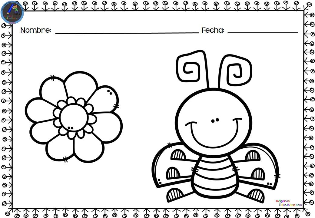 Colección de fichas para colorear. Motivos primavera (4 ...