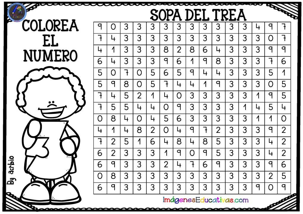 SOPA DE NÚMEROS PARA COLOREAR (4) - Imagenes Educativas